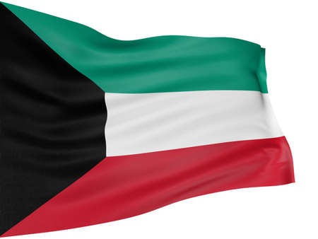 3D flag of Kuwait photo