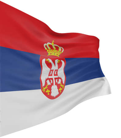 serbian: 3D Serbian flag Stock Photo