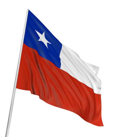 chilean flag: 3D Chilean flag