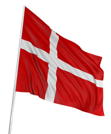 danish: 3D Danish flag Stock Photo