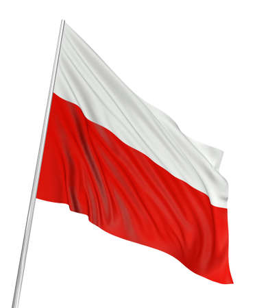 poland: 3D Polish flag Stock Photo