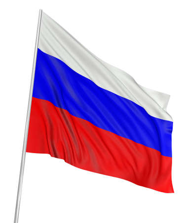russia: 3D Russian flag Stock Photo