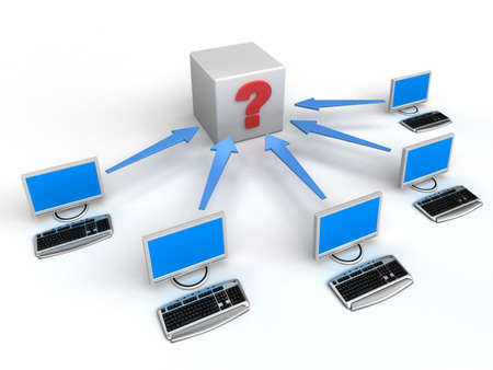 Computer Network with arrows and question photo