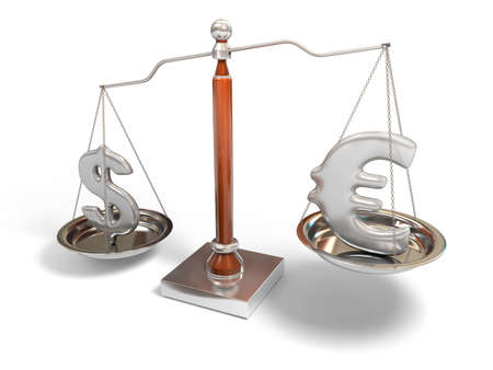 eur: Currency on balance scale
