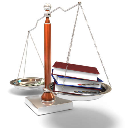 inequality: Money and books on balance scale