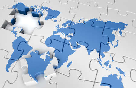 Puzzle world map Stock Photo - 13368112