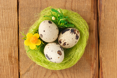 Egg quail in a green nest on a wooden background Stock Photo