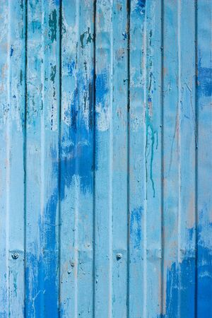 Texture of old metal plate painted with blue dye Imagens