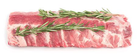 Pork ribs with rosemary on a white plate, isolate Zdjęcie Seryjne