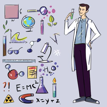researcher: The scientist with set of icons illustration. Objects for background Illustration