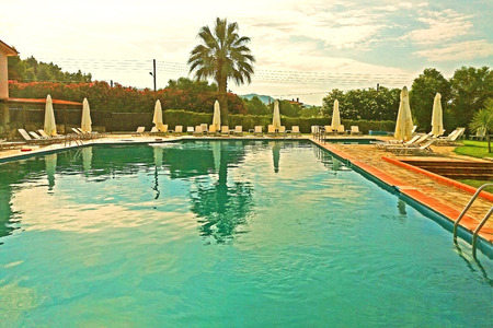 Beautiful swimming pool, rest area, beautiful sky