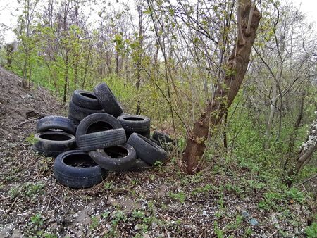 A bunch of used tires thrown away in the nature
