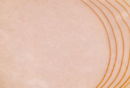 Slices of tasty salami close up. Italian salami thin