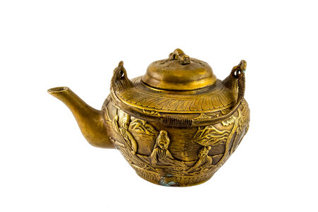 engravings: Chinese Antique Bronze Tea Pot with Fine Engravings