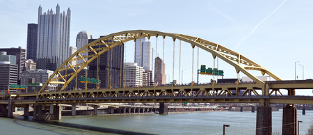 Duquesne Bridge and Pittsburgh skyline. Stock Photo