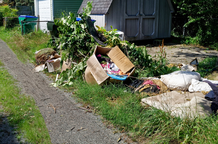 Residential neighborhood alley littered with rubbish and debris. Horizontal. Stock Photo