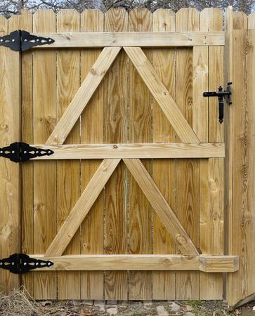 Newly built fence gate seen from inside backyard. Vertical. 版權商用圖片