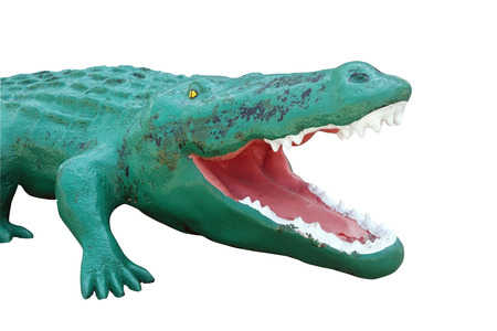 Isolated ornamental alligator head.