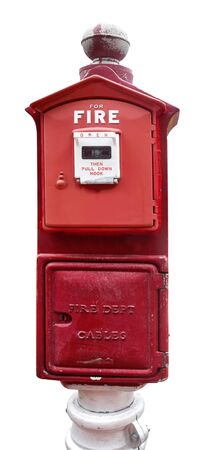Isolated vintage red fire alarm box.