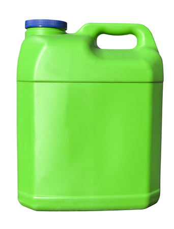 Isolated green container with blue cap.
