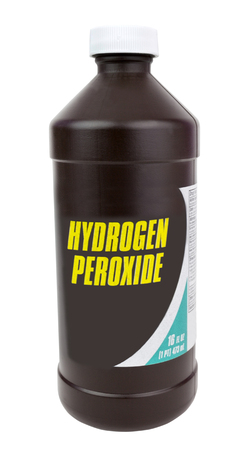 Brown plastic bottle of hydrogen peroxide. Isolated. Vertical.