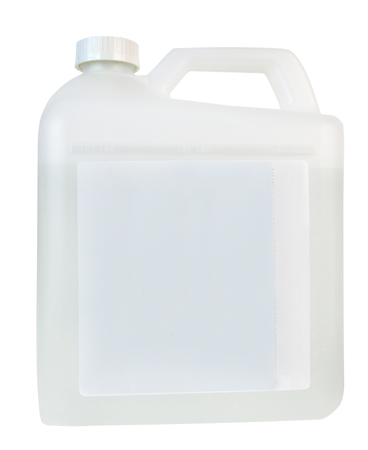 Opaque white liquid container with blank label. Copy space. Фото со стока
