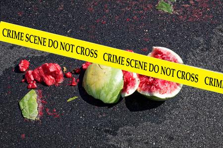 Watermelon crime scene. Humor. Imagens