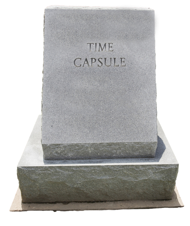 Granite time capsule marker. Copy space. Isolated.