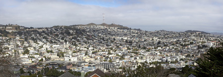 San Francisco's Noe Valley with fog rolling in.