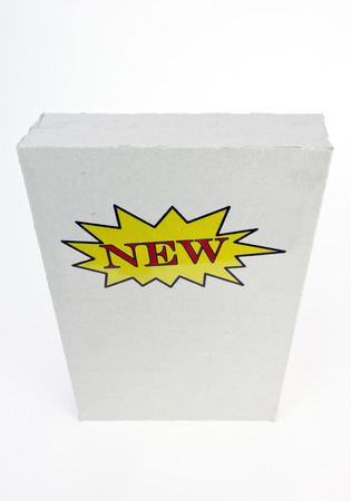 Angled bare box with NEW label. Isolated. Stock Photo