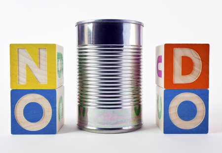 NO CAN DO saying presented as a visual pun with toy blocks and tin can. Fun. Humor.