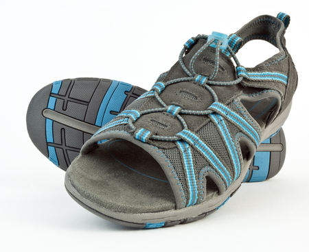 New sandals-gray and turquoise. Isolated.