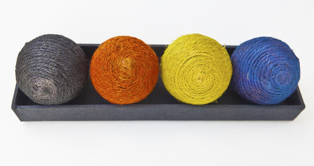 Colorful balls of yarn. Isolated.