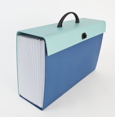 Side and front view of two-toned blue accordion documents folder. Isolated.