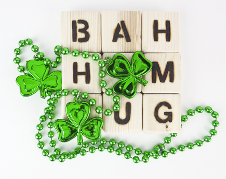 BAH HUMBUG concept applied to St. Patricks Day. Isolated.