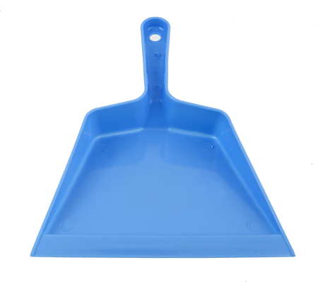Simple inexpensive blue plastic dustpan. Isolated.