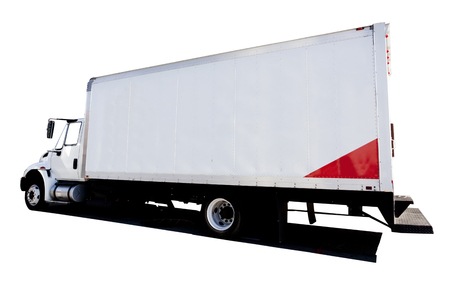 Side and rear view of semi truck. Isolated. Stock Photo