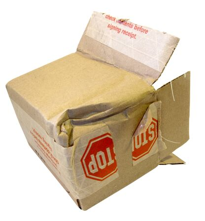 Roughed up open parcel box. Isolated.