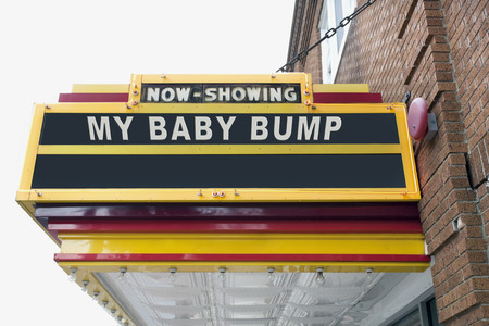 Theater marquee: NOW SHOWING MY BABY BUMP. Fun. Humor.