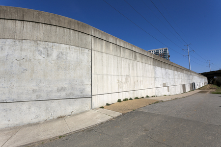 A section of Richmond, Virginias floodwall built along the James River.