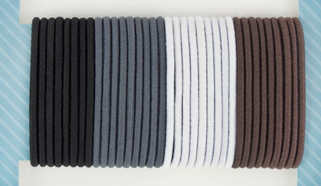 mounted: Black, grey, gray,white and brown elastic hair ties mounted on blue presentation card.