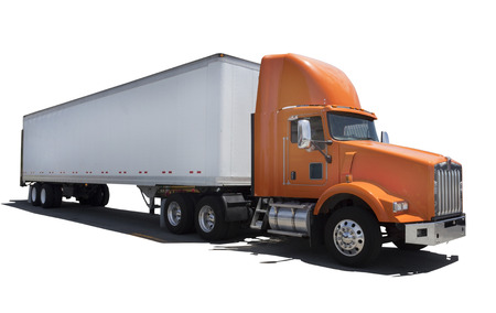 Isolated semi with white trailer and orange cab. Stock Photo
