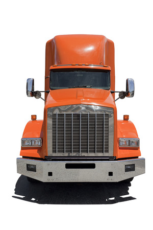 Front view of isolated semi truck with orange cab.