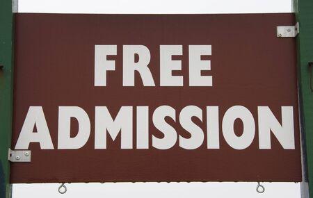 FREE ADMISSION sign. Banco de Imagens