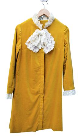Mod style, velveteen, 1960s Carnaby Street dress. Isolated. Vertical.