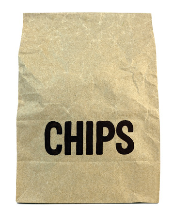 Brown chips bag. Isolated.