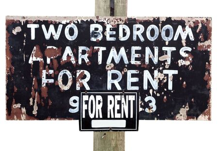 b w: Shabby, sketchy, grunge APARTMENTS For Rent Sign. Isolated. Horizontal.