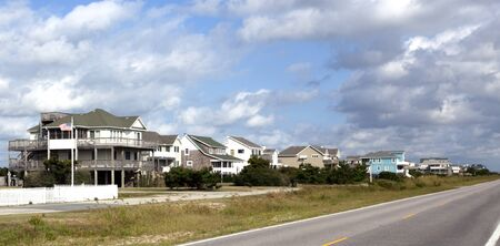 rentals: Atlantic coast USA summer beach rentals with blue sky.