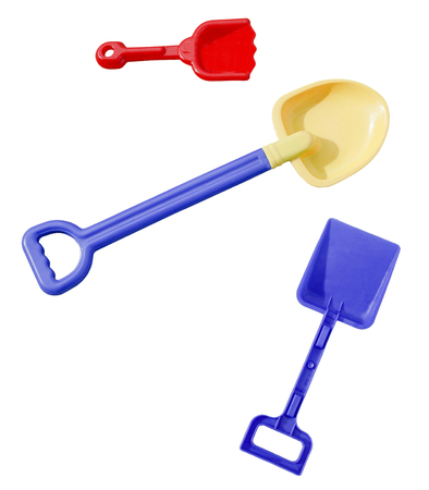 Plastic beach toy shovels. Isolated. Reklamní fotografie