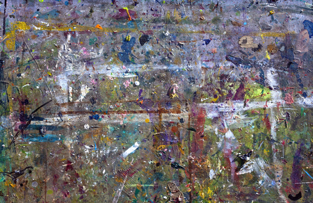 spattered: Paint spattered silk screen tabletop.